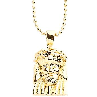 Iced out bling micro pave necklace - MINI JESUS III gold