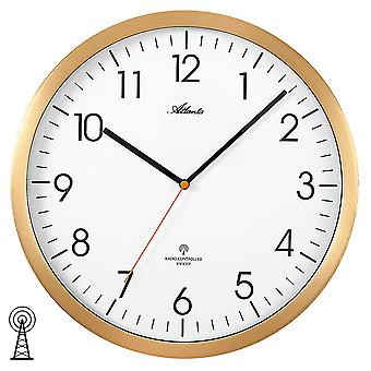 Atlanta 4382/9 wall clock radio radio controlled wall clock analog golden round quietly without ticking