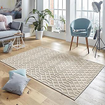 Design viscose rug Caine in relief cream