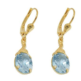 Brisur 30 x 7, 5mm earring synthetic aquamarine 8Kt GOLD