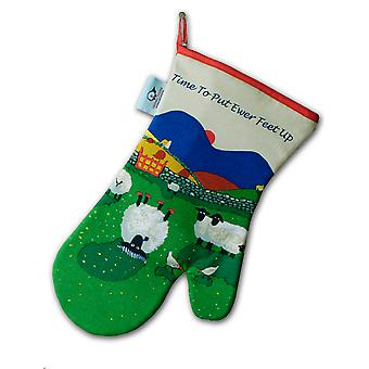 Thomas Joseph Oven Mitt, Time To Put Ewer Feet Up Sheep Design