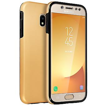 Silicone case + back cover in polycarbonate for Samsung Galaxy J5 2017 - Gold