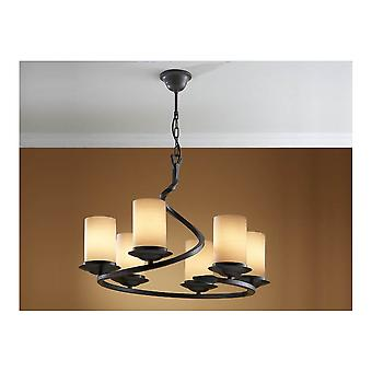 Schuller Traditional Oxide Black Hanging Opal Glass Ceiling 6 Light Pendant