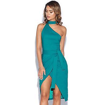 Asymmetric Halterneck Front Dress