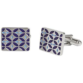 Simon Carter West End Retro Enamel Cufflinks - Silver/Dark Blue