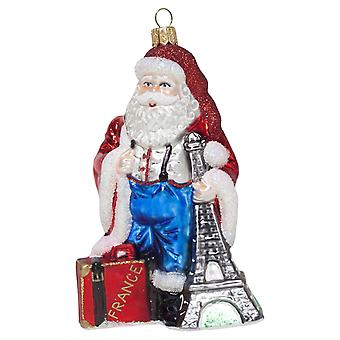 French Father Christmas Mouth-Blown Glass Tree Bauble