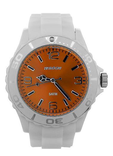 Waooh - Watch STM42 Blanche - White Bezel - Silicone Bracelet 42mm