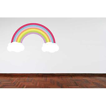 Full-Colour Pastell Farbe Regenbogen und Wolken Wandtattoo