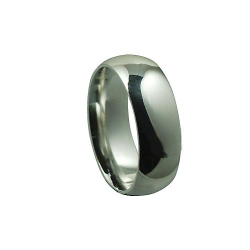 Silver 8mm plain Court shaped Wedding Ring