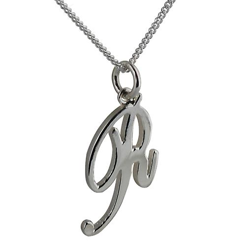 Silver 26x14mm initial R with a curb Chain 20 inches