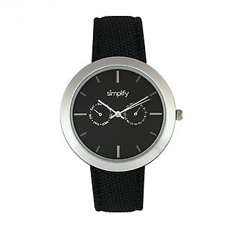 Simplify The 6100 Canvas-Overlaid Strap Watch w/ Day/Date - Black