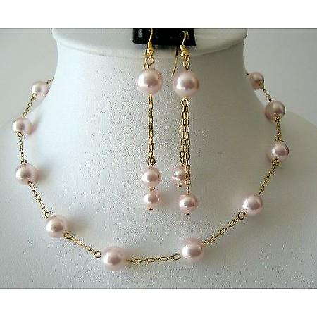 Romantic Jewelry Set Rosaline Swarovski Pearls Chain 22k Gold Plated