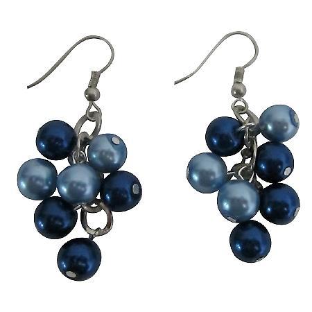 Pearls Grape Bunches Earrings Lite & Dark Blue Combo Pearls Earrings