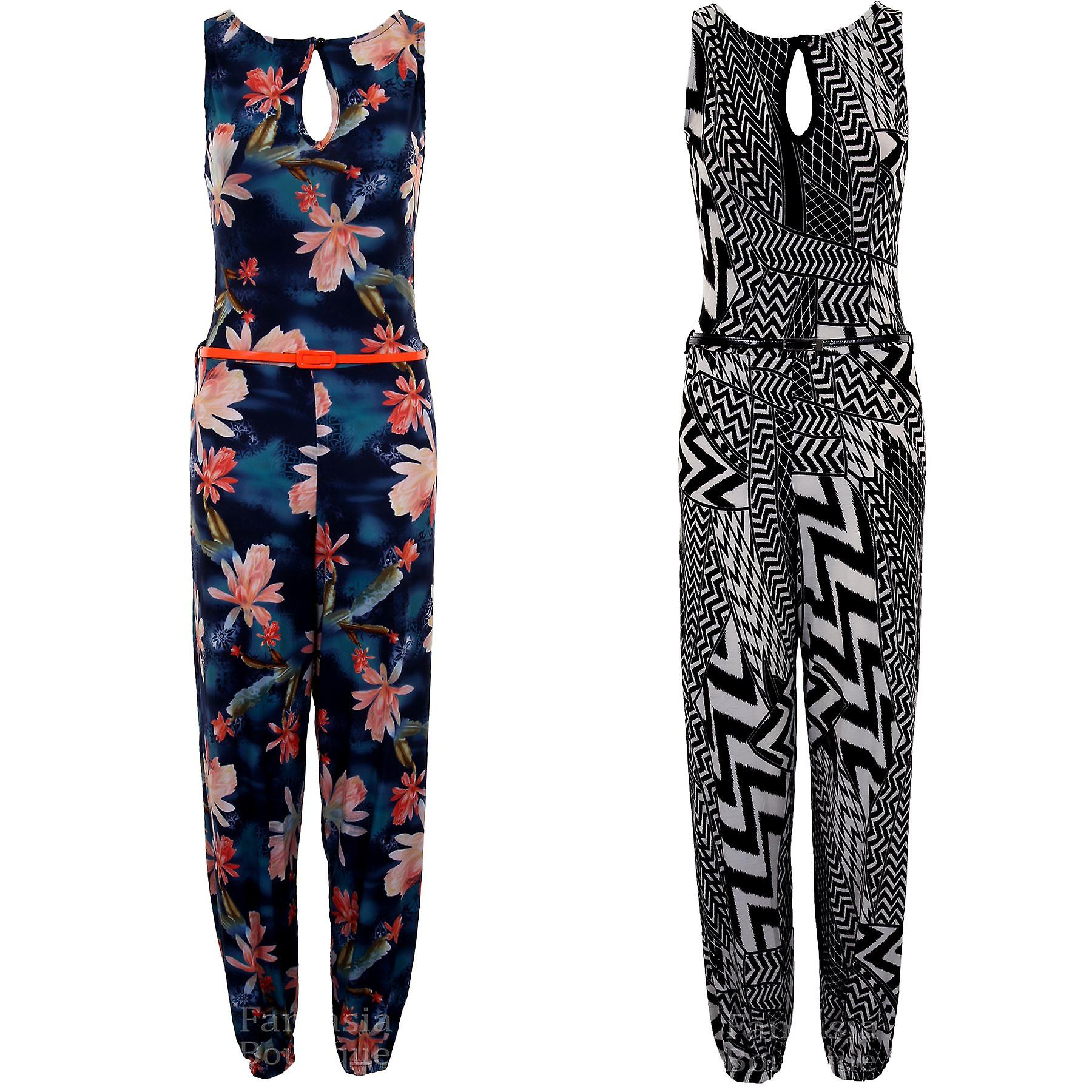 Ladies Sleeveless Belted All In One Floral Zig Zag Print Women's Smart Evening Jumpsuit