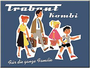 Trabant Familie advertisement metal fridge magnet