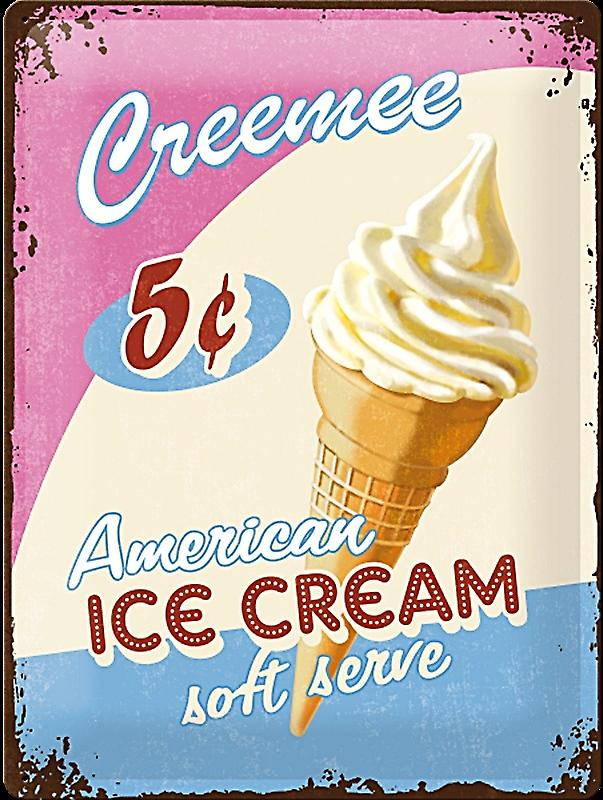 Creemee Ice Cream large embossed steel sign    (na 4030)