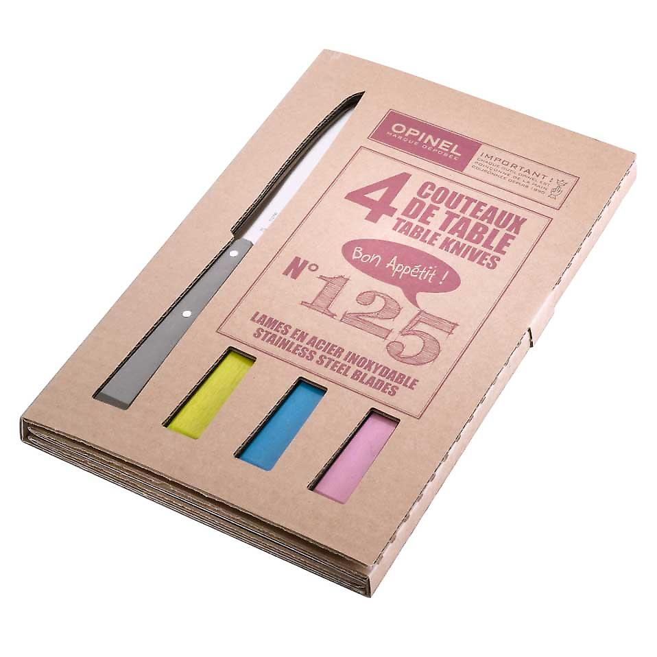 Opinel - Bon Appetit Table Knives set of 4 Number 125 - Country Colours