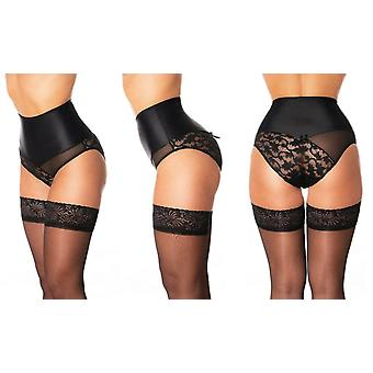 Premier Lingerie 'Delight' High Waist Powermesh Lace Knickers with Lycra (PLbdl)