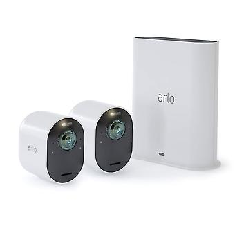 Sistema di Arlo Ultra 4K UHD Wire-Free Security 2 telecamere, telecamere di sicurezza interno/esterno con colore Night Vision, vista a 180 gradi, Audio a 2 vie, Spotlight, sirena, (VMS5240)