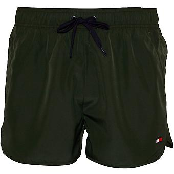 Tommy Hilfiger Side Logo Athletic-Fit Swim Shorts, Khaki
