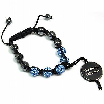 Blue Rhinestone Disco Ball Adjustable Bracelet by The Olivia Collection