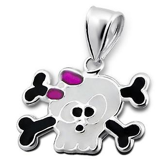 Crazy Skull and Crossbones Sterling Silver Miniature Pendant