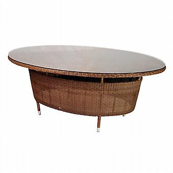 Alexander Rose San Marino Rattan Oval Table with Glass