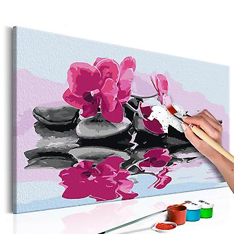 DIY canvas painting - Orchid With Zen Stones (Reflection In The Water)
