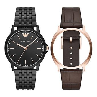 Emporio Armani Ar80021 Men's Three-hand Interchangeable Watch Set