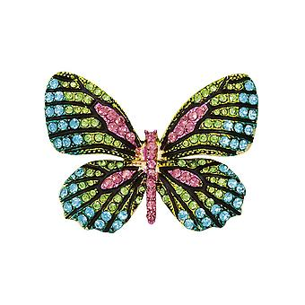 Eternal Collection Vida Turquoise Multi Crystal Gold Tone Butterfly Brooch
