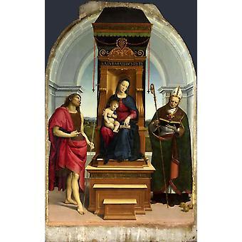 Die Madonna und das Kind inthronisiert mit, Heiligen, Raphael, 60x38cm