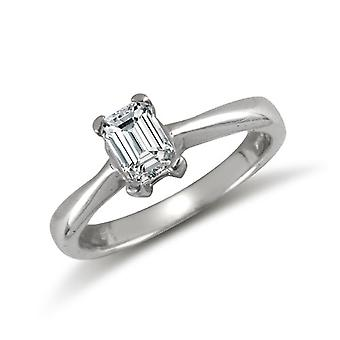 Jewelco London Ladies Solid 9ct White Gold White Emerald Cut Cubic Zirconia Solitaire Engagement Ring