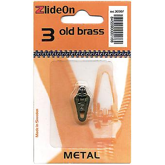 Zlideon Zipper Pull Replacements Metal 3 Old Brass 3030 7