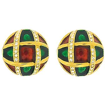 Clip On Earrings Store Red & Green Enamel Gold Plated & Swarovski Crystal Button