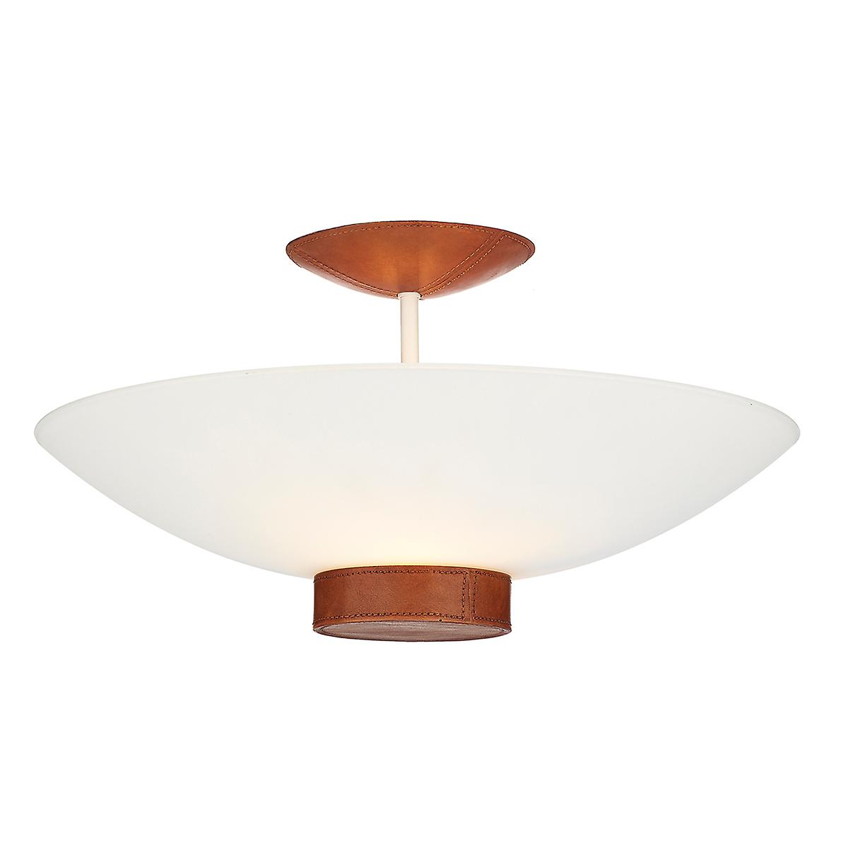 David Hunt SA133 Saddler Disc Shaped Semi Flush Pendant With A Leather Effect