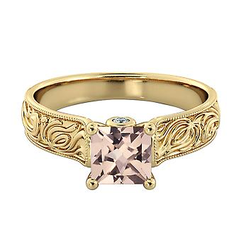 14K Yellow Gold 1.06 CTW natural peach/pink VS Morganite Ring with Diamonds Vintage Hand Engraved
