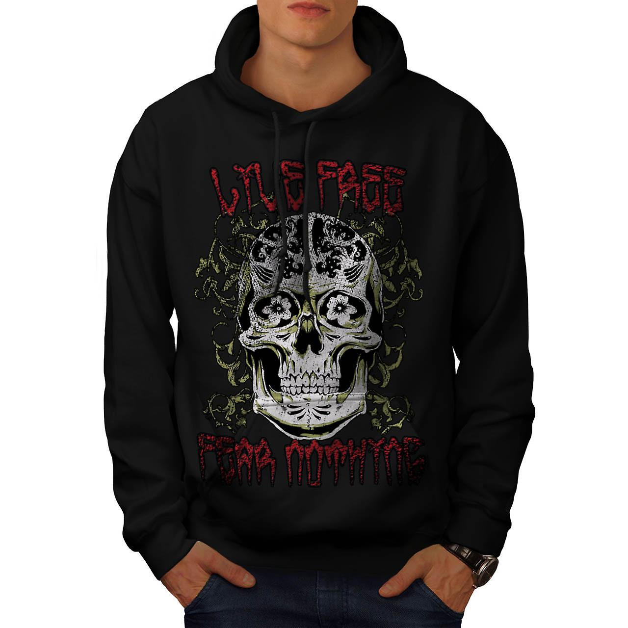 Monster Skull Fear Nothing Live Men Black Hoodie | Wellcoda
