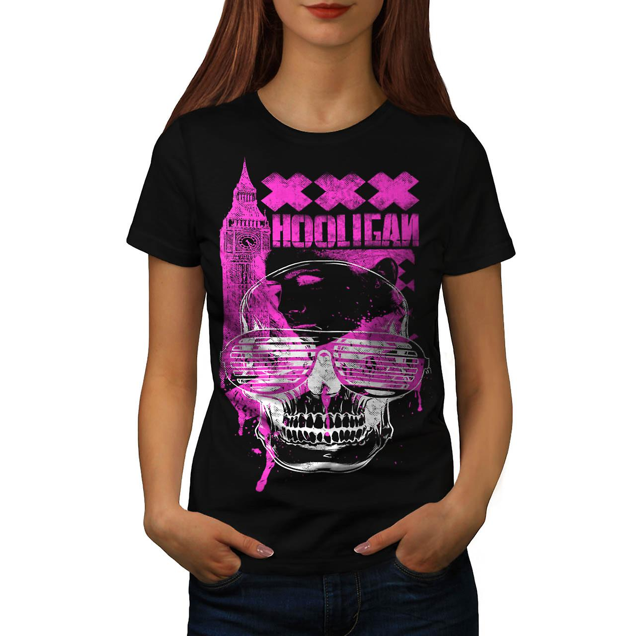 DJ huligan skalle XXX London UK kvinnor svart T-shirt | Wellcoda