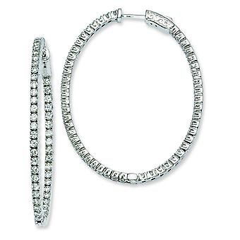 Sterling zilveren Rhodium Plated met Cubic Zirconia scharnierend ovale Hoop Earrings Hoop Earrings