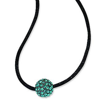 Black Plating Fancy Lobster Closure Black-plated Teal Crystal Fireball 16 Inch With ext Satin Cord Necklace