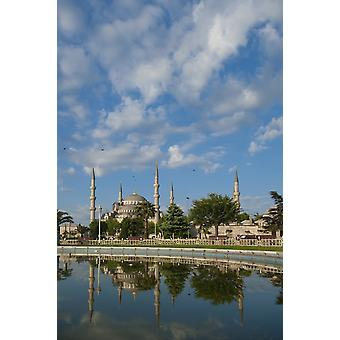 Turkey Looking across pond to Sultanahmet or Blue Mosque Istanbul PosterPrint