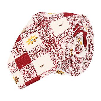 Snobbop narrow tie Club tie floral diamond pattern red white