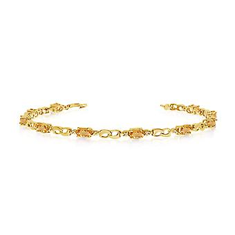10K Yellow Gold Oval Citrine and Diamond Link Bracelet