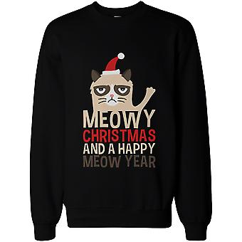 Meowy Christmas Miau feliz año - Unisex sudadera gráfico lindo gato gruñón