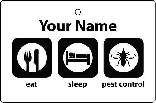 Personalised Eat Sleep Pest Control Car Air Freshener