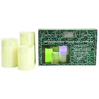 Set de 3 Bougies LED Ambre / Changement de couleur