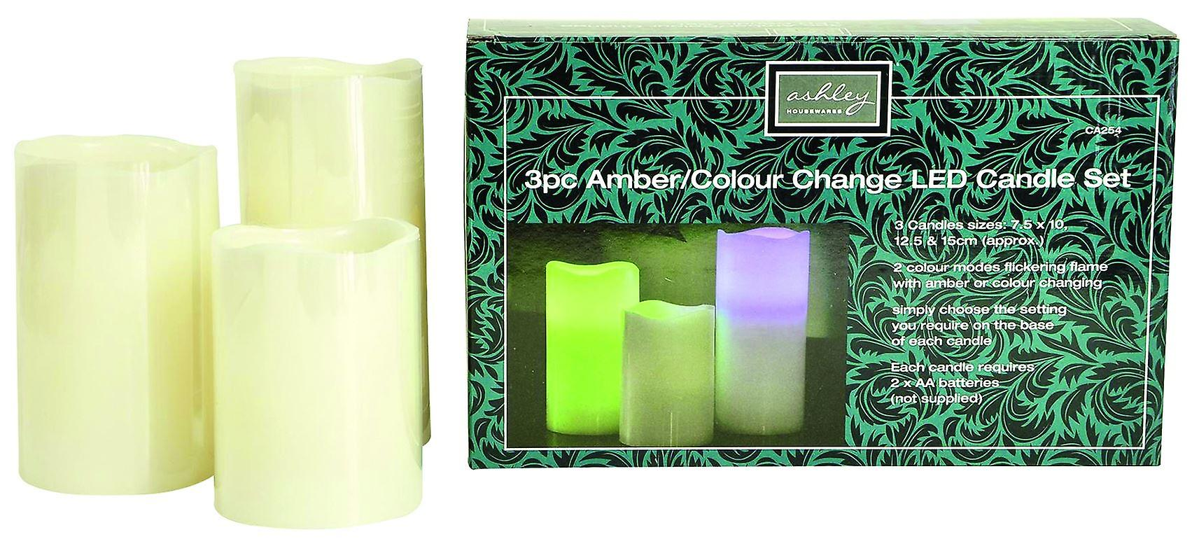 Set of 3 LED Candles Amber/Colour change