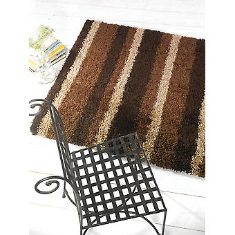 Chocolate Shaggy Striped Rug - Nordic Channel