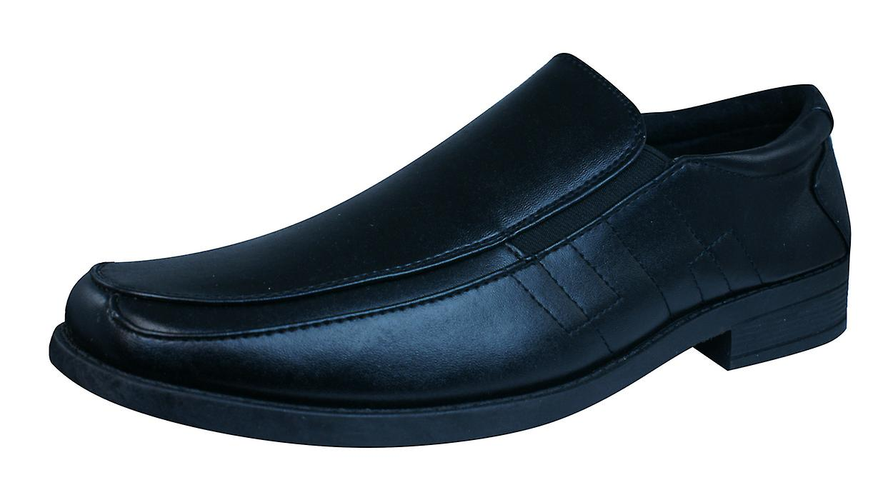 Brickers 2185 Mens Slip On Black Shoes / Loafers - Black On 6888d0