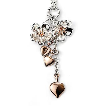 925 Silver Heart And Rose Gold Plated Flower Necklace